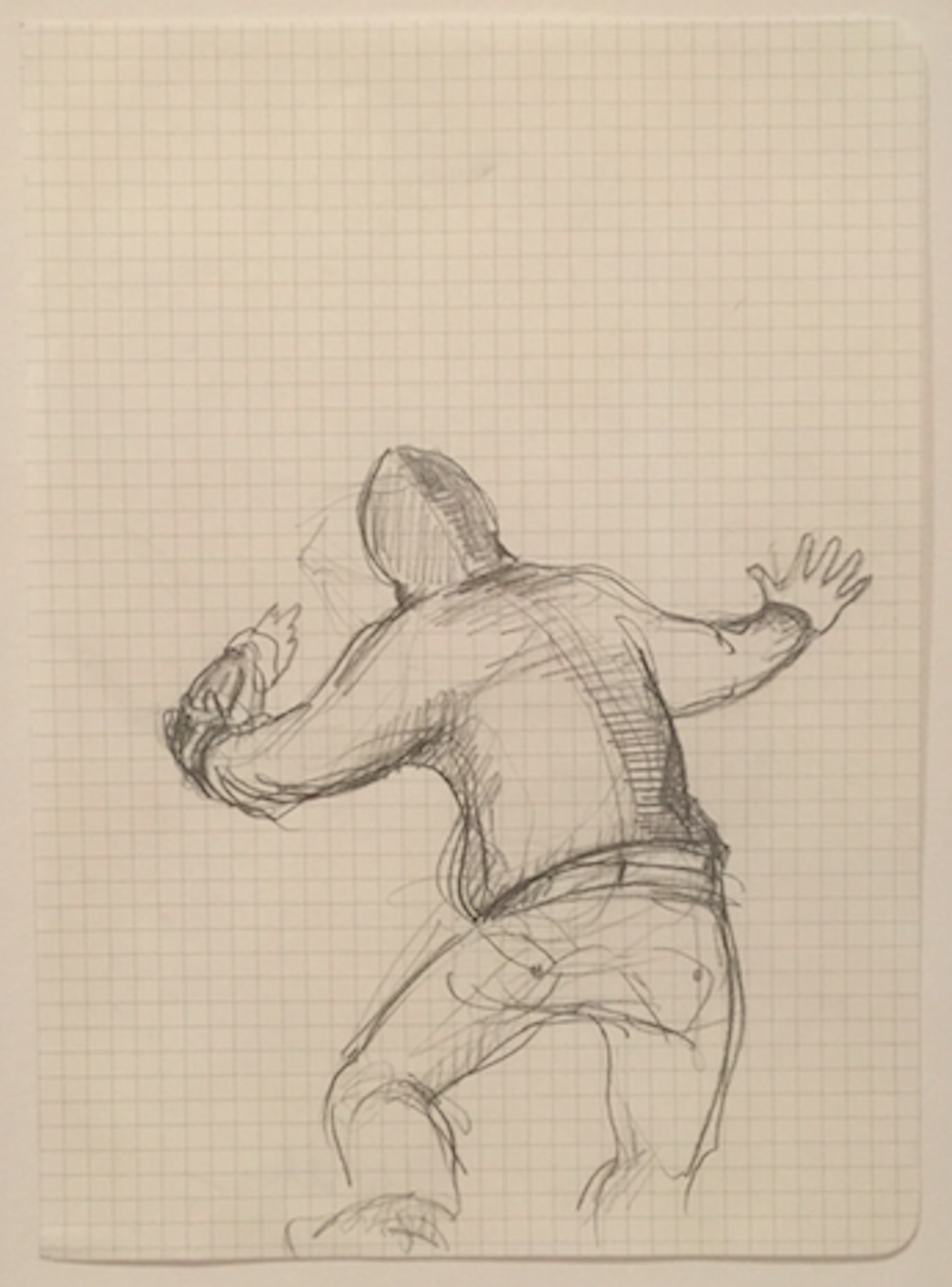 Small pencil drawing on grid paper, showing a figure about to thrown something (click to enlarge)