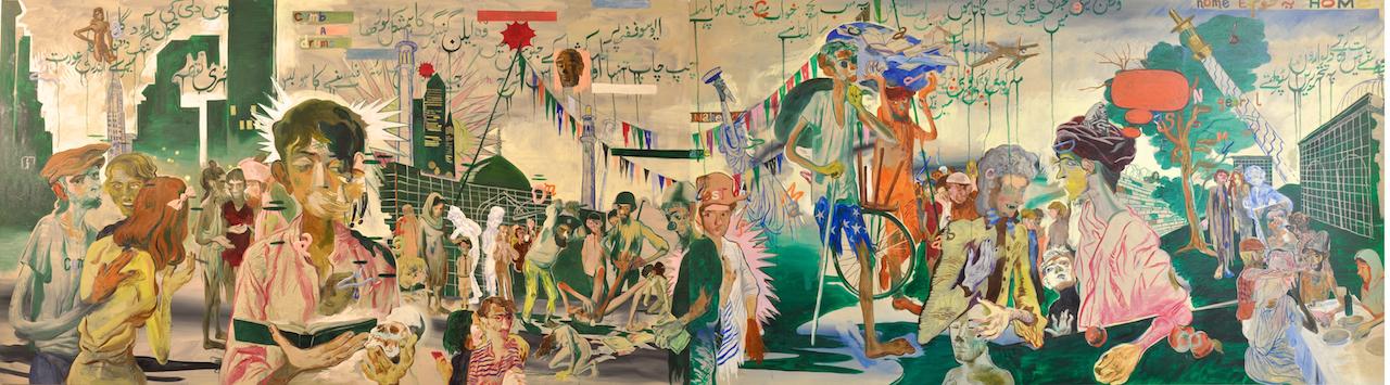 "Salman Toor, ""For Allen Ginsberg (2015), oil on canvas, 47 x 168 in."