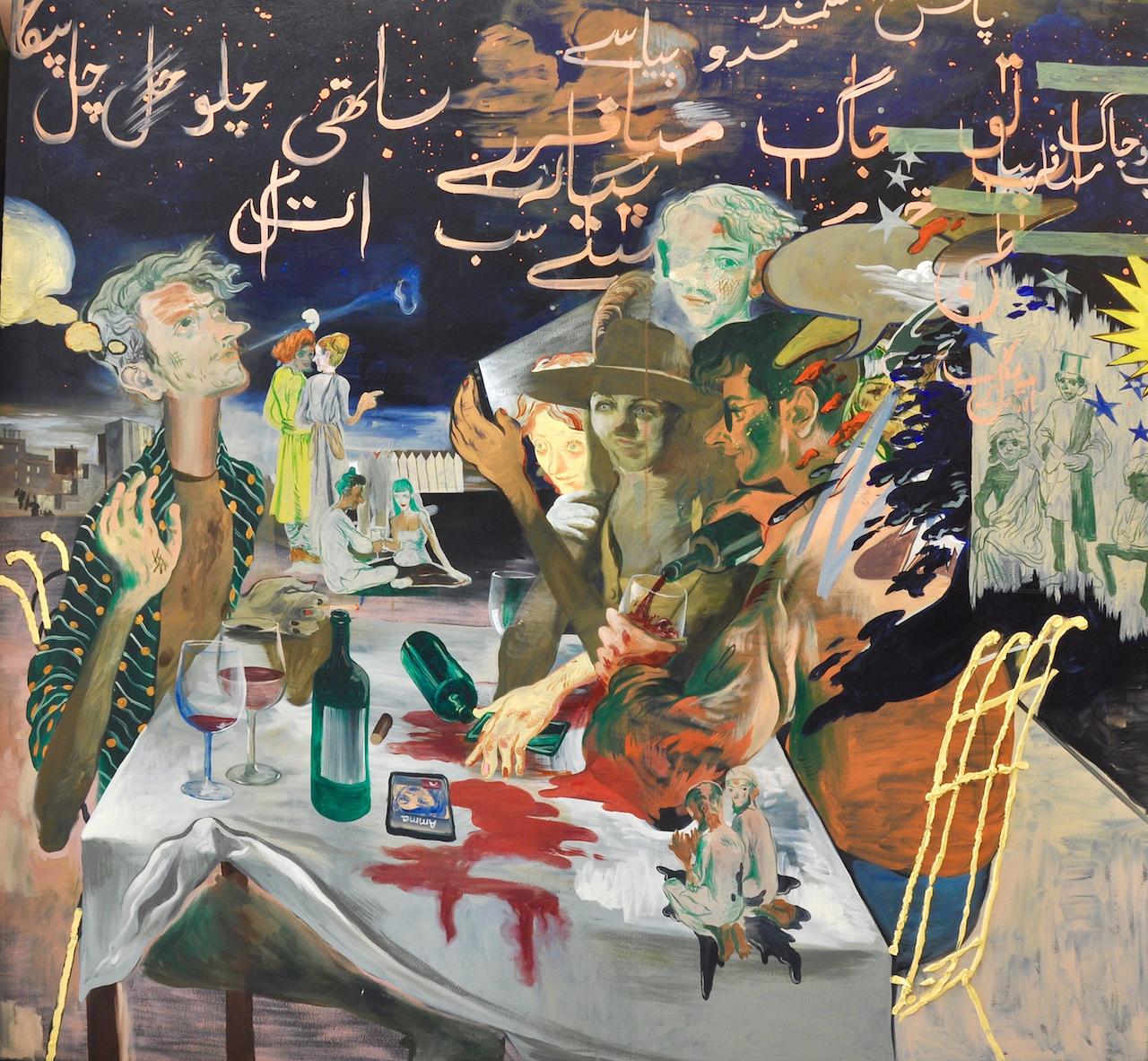 "Salman Toor, ""Resident Aliens"" (2015), oil on canvas, 66 x 46.5 in."