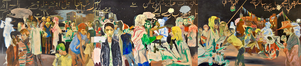 """Salman Toor, """"Rooftop Party With Ghosts (Triptych)"""" (2015), oil on canvas, 46.5 x 210 in."""