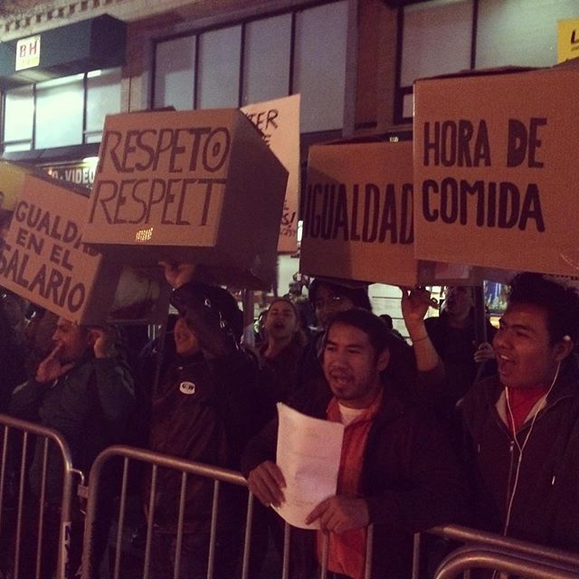 B&H workers demonstrating outside its Manhattan store (photo by @rrraquiii/Instagram)