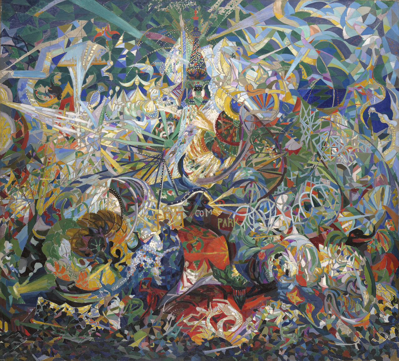 """Joseph Stella, """"Battle of Lights, Coney Island, Mardi Gras"""" (1913-14), oil on canvas, 77 x 84 3/4 in. (Yale University Art Gallery, New Haven, Connecticut; Gift of Collection Société Anonyme)"""