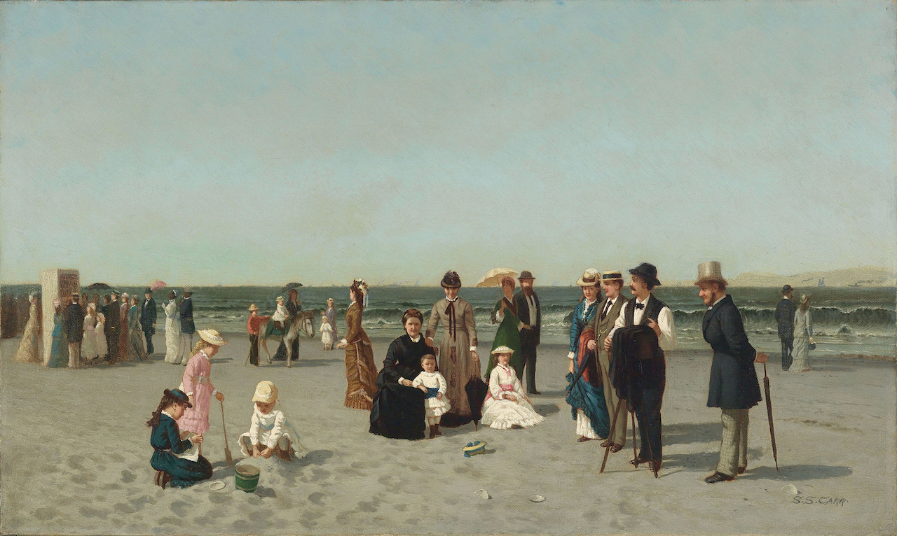 """Samuel S. Carr, """"Beach Scene"""" (1879), oil on canvas, 12 x 20 in. (Smith College Museum of Art, Northampton, Massachusetts; Bequest of Annie Swan Coburn)"""