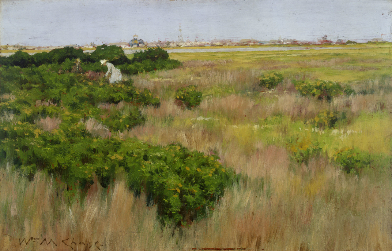 """William Merritt Chase, """"Landscape, near Coney Island"""" (1886), oil on panel, 8 1/8 x 12 5/8 in. (The Hyde Collection, Glens Falls, New York; Gift of Mary H. Beeman to the Pruyn Family Collection)"""