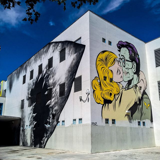 Murals by Shark Toof and D*Face on the exterior of Jose de Diego Middle School in Miami's Wynwood district (photo by @eyenoordherbie/Instagram)