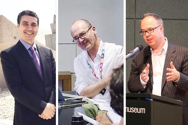 Museum directors Abdellah Karroum, Vasif Kortun, and Charles Esche (images via @mathafmodern/Instagram; @salt_online/Instagram; @cea + / Flickr under CC BY 2.0 license)