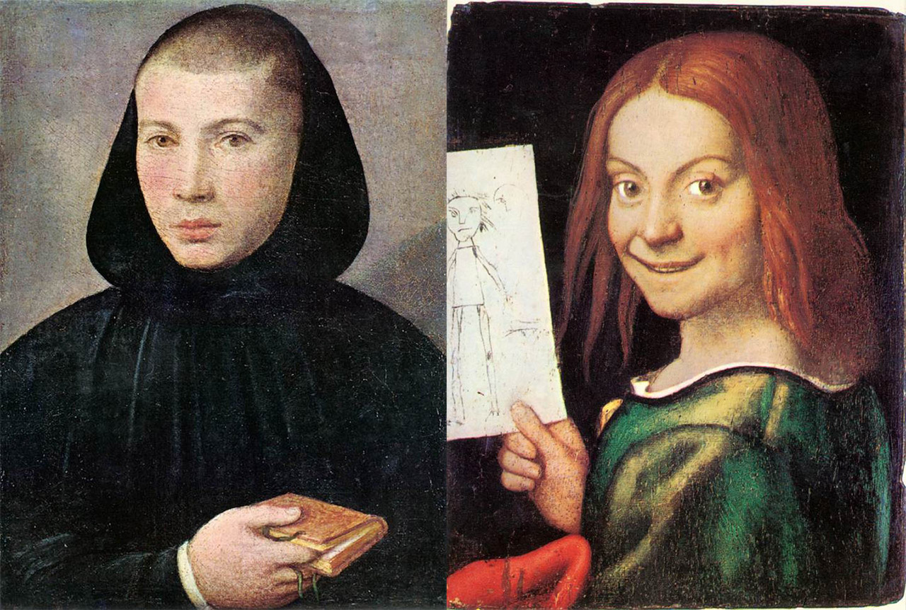 """Giovanni Francesco Caroto's paintings """"Portrait of a Young Benedictine"""" and """"Portrait of a Child with a Drawing"""" (both ca. first half of the 16th century), both stolen from the Museo di Castelvecchio on Thursday. (via Wikimedia Commons and Wikimedia Commons)"""