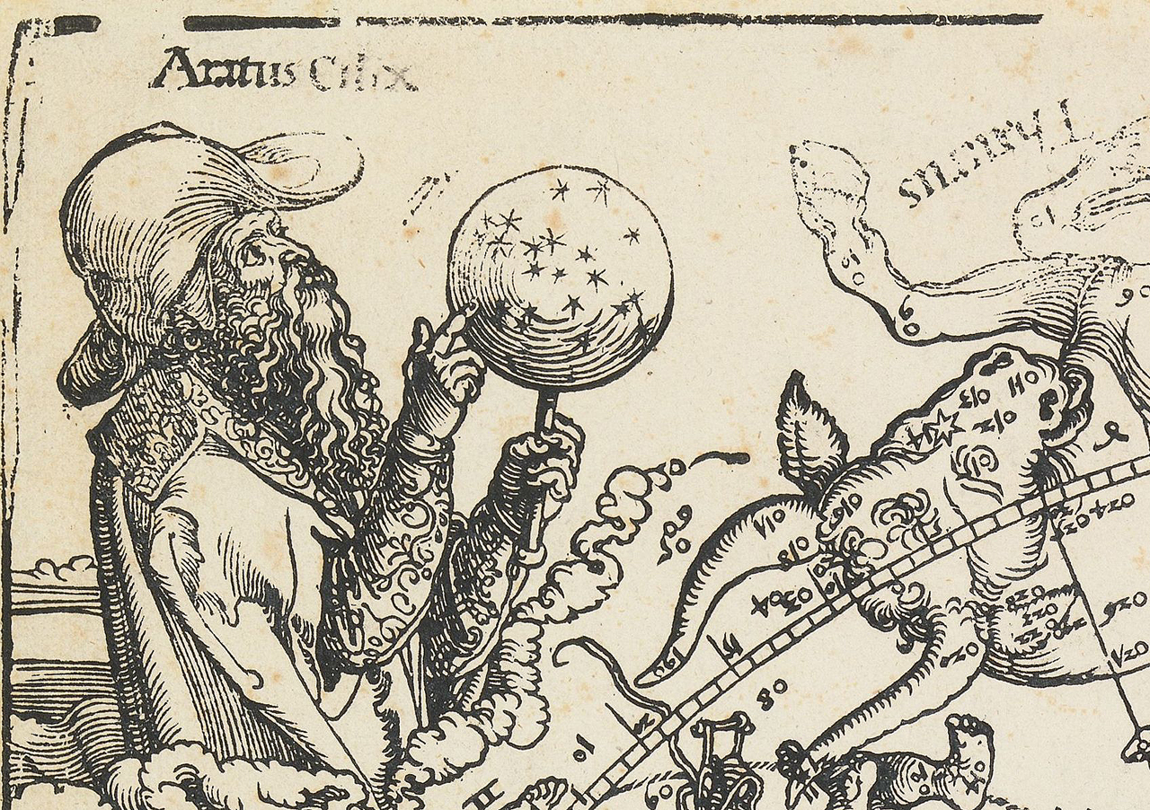 Detail of the northern hemisphere star map by Albrecht Dürer (courtesy Art Collections of the City of Nuremberg)