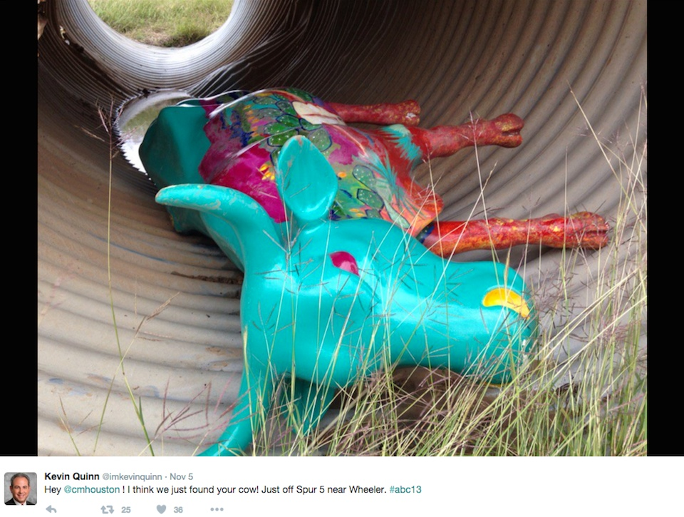 Photo of the stolen cow art posted to Twitter by ABC13 reporter Kevin Quinn (screenshot by the author)