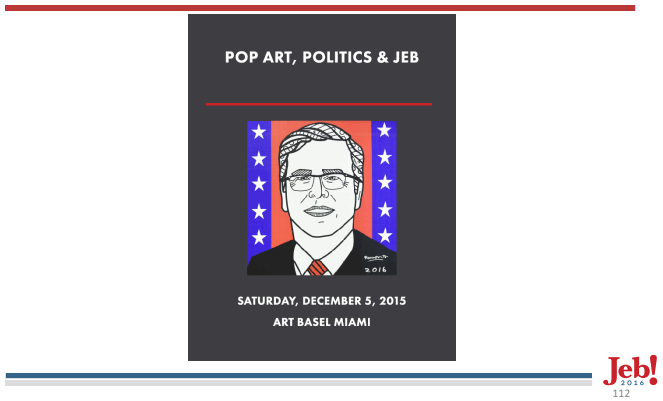 """An announcement for Jeb Bush's """"Pop Art"""" fundraiser (screen shot by the author)"""
