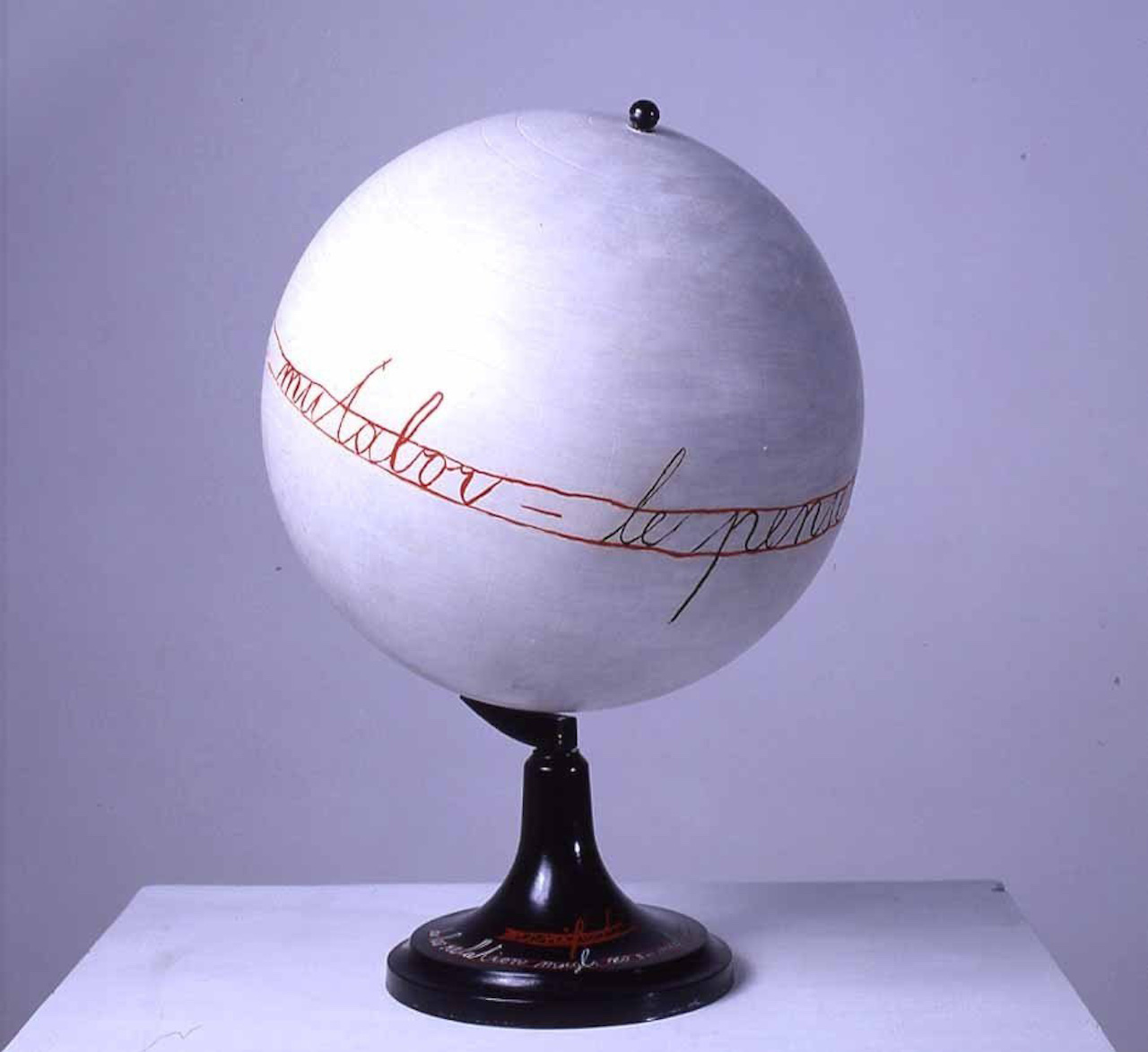 """Mangelos (Dimitrije Bašicevic), """"Manifest de la relation"""" (1976), synthetic polymer paint on globe made of plastic and metal"""