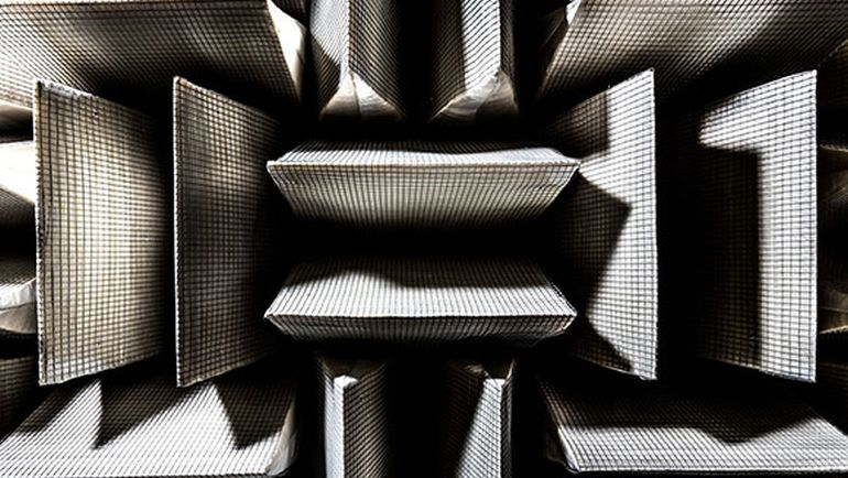 Detail of the sound-absorbing walls at Microsoft's anechoic chamber (courtesy Microsoft) (click to enlarge)