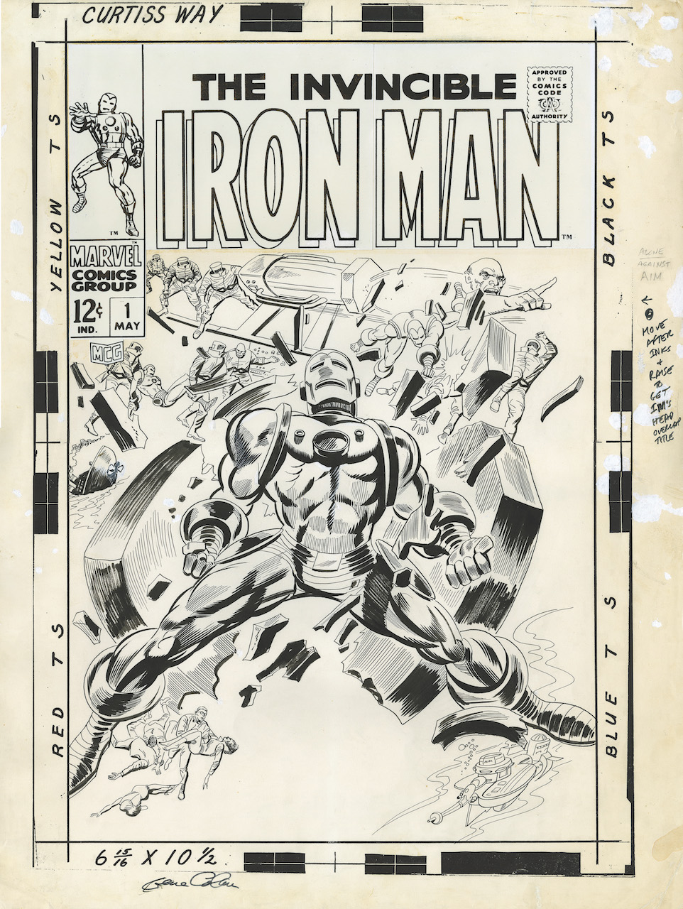 Gene Colan and Johnny Craig, Original cover art for 'Iron Man' (no. 1, May 1968) (collection of David Mandel)