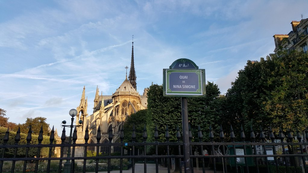 An intervention this August to temporarily rename the quai outside Notre Dame in Paris after Nina Simone (courtesy Osez Le Feminisme/Femicite)