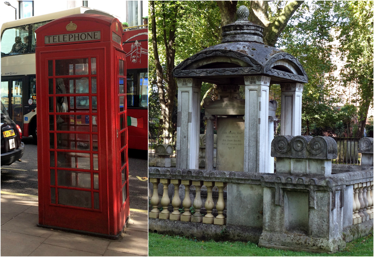 London telephone box and Eliza Soane's tomb (all photos by the author for Hyperallergic unless noted)
