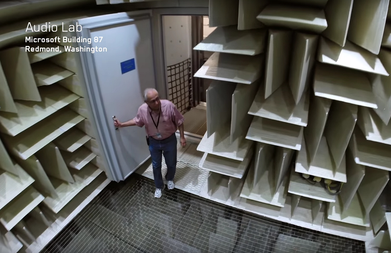 Microsoft's Building 87, the quietest place on Earth (screenshot by the author for Hyperallergic via YouTube)