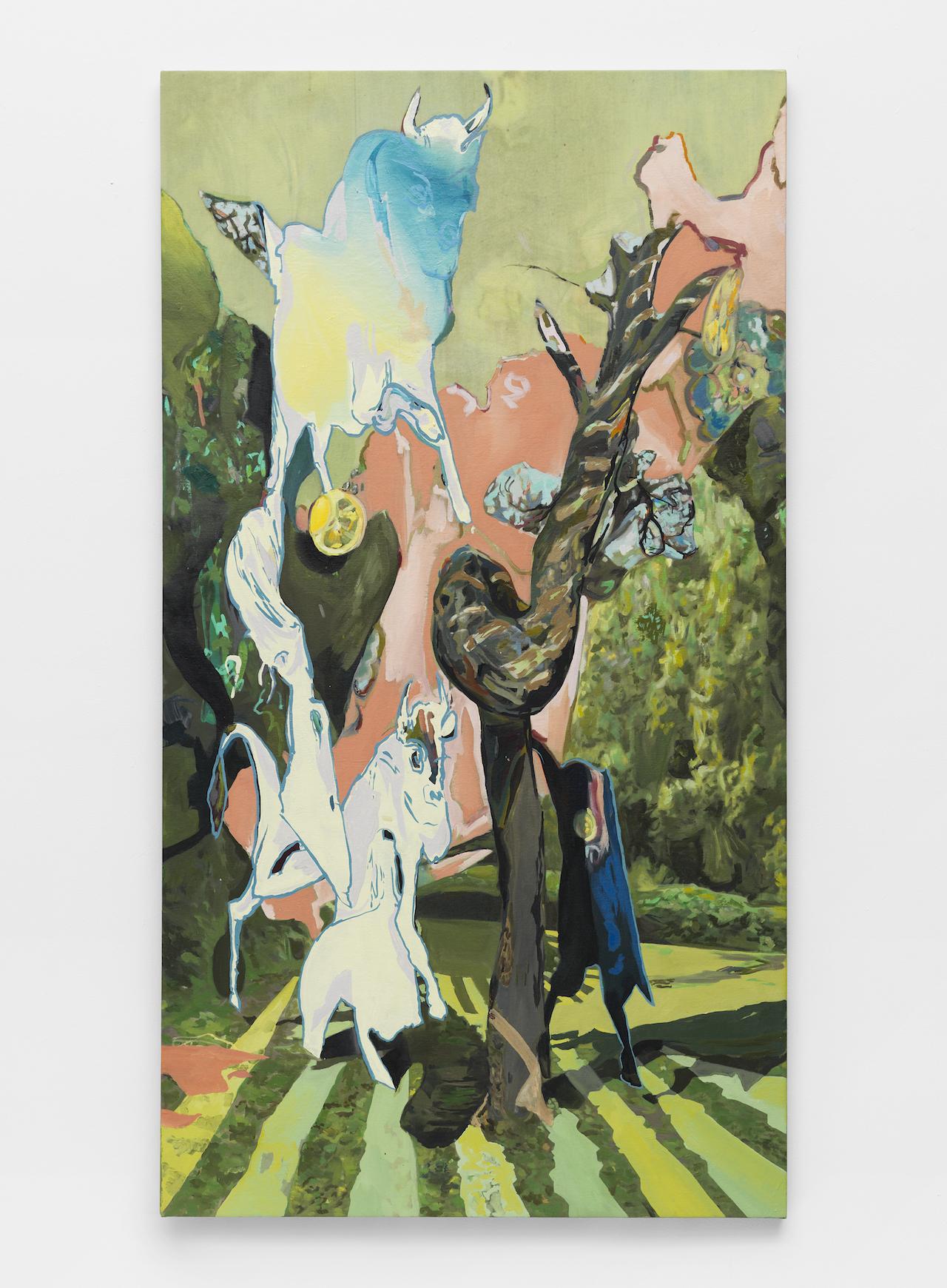 "Rachel Rossin, ""5_Bulls"" (2015), oil on canvas, 68 x 37 inches"
