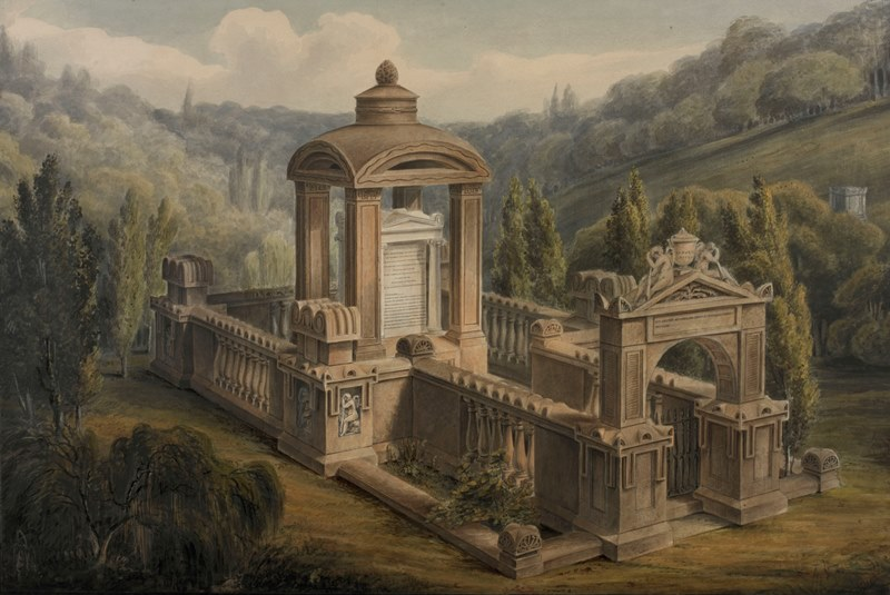 Painting by George Basevi of Eliza Soane's tomb, the design of which inspired the red telephone box in London (photo by Hugh Kelly, courtesy Sir John Soane's Museum)