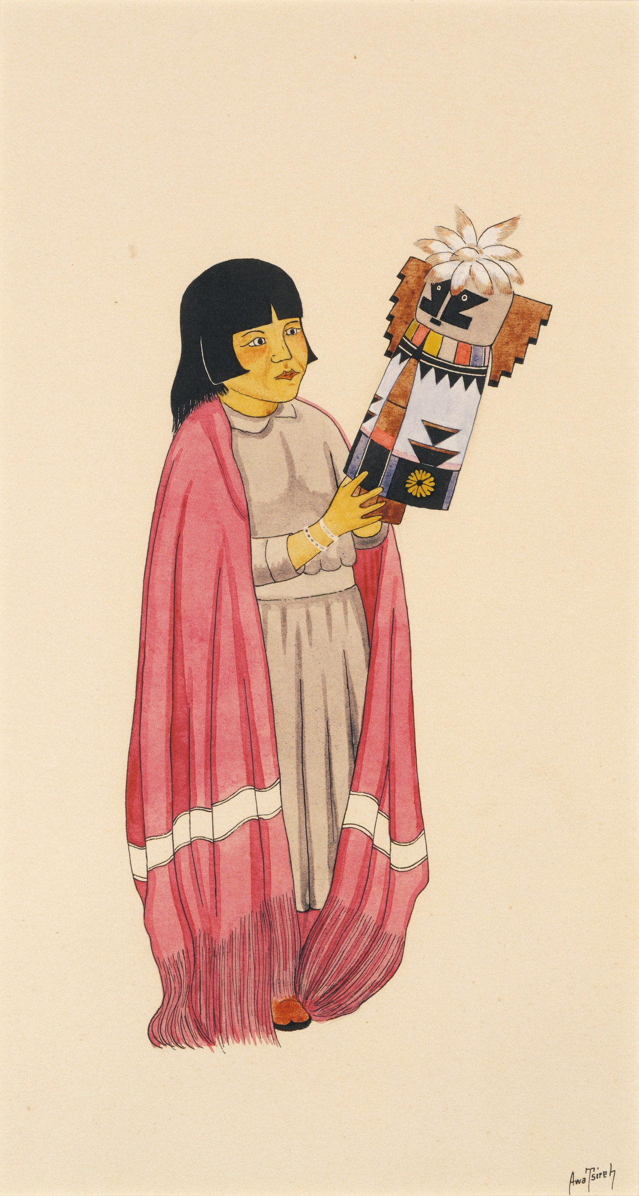 """Awa Tsireh, """"Girl Holding Kachina"""" (about 1925-1930), watercolor and ink on paperboard (click to enlarge)"""
