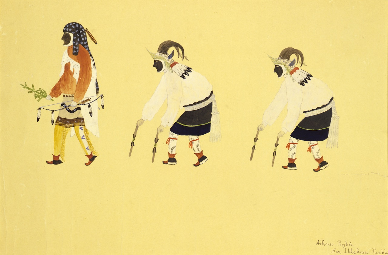 """Awa Tsireh, """"Hunting Priest and Mountain Sheep Dancers"""" (c. 1917-1920), watercolor and pencil on paperboard"""