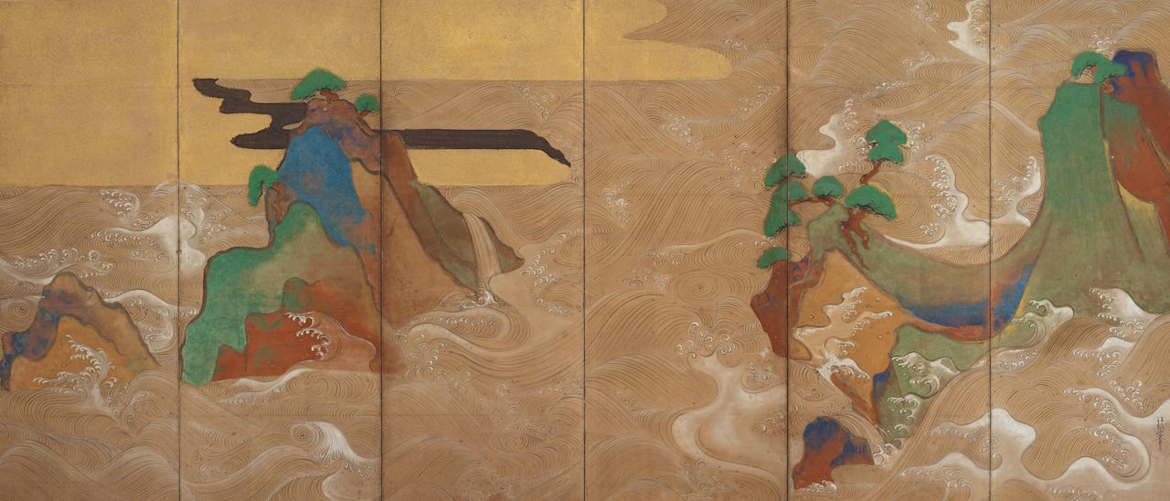 (Artist) Tawaraya Sotatsu; Japan; 17th century; Ink, color, gold, and silver on paper; H x W (overall [each]): 166 x 369.9 cm (65 3/8 x 145 5/8 in); Gift of Charles Lang Freer