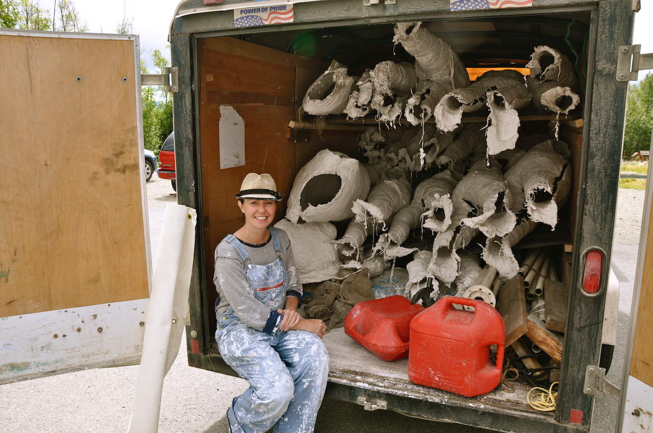 Sarah Davies with her van of materials and casts (photo courtesy 100 Stone)