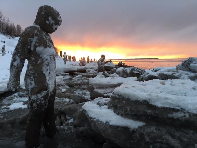 Sculptures lining the coast of Alaska (photo by Sarah Davies, all photos courtesy 100 Stone)