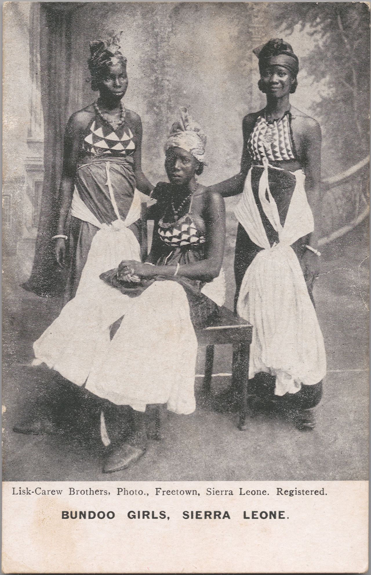 Unknown Artist [possibly Alphonso Lisk-Carew, Sierra Leonean, 1887-1969] Bundoo Girls – Sierra Leone, ca. 1905-1925 Photomechanical reproduction published by Lisk-Carew Brothers 5 x 3 in (13.3 x 8.3 cm) Visual Resource Archives, Department of the Arts of Africa, Oceania, and the Americas