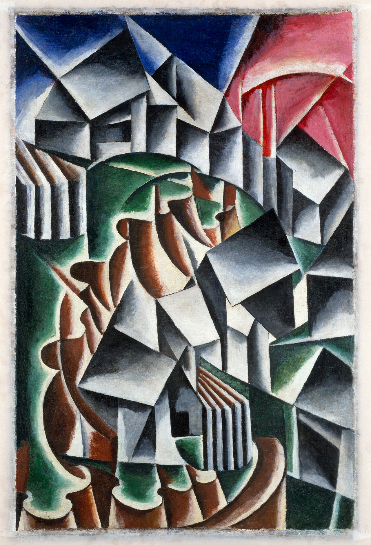 "Liubov Popova, ""Birsk"" (1916), oil on canvas, 41 3/4 x 27 3/8 inches (106 x 69.5 cm), Solomon R. Guggenheim Museum, New York Gift, George Costakis, 1981 (image © Solomon R. Guggenheim Museum)"