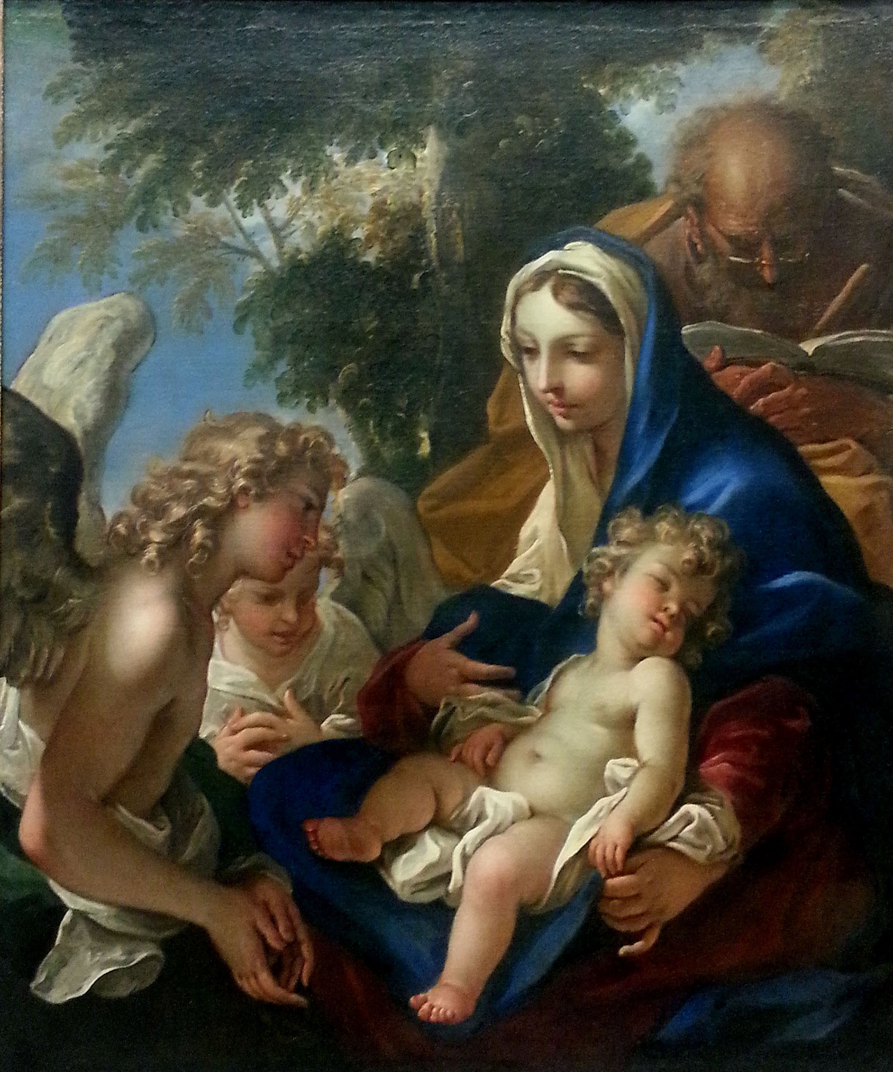 """Sebastiano Ricci, """"The Holy Family with Angels"""" (1700) (photo by Jorge Elías via Flickr, licensed under CC BY 2.0) (click to enlarge)"""