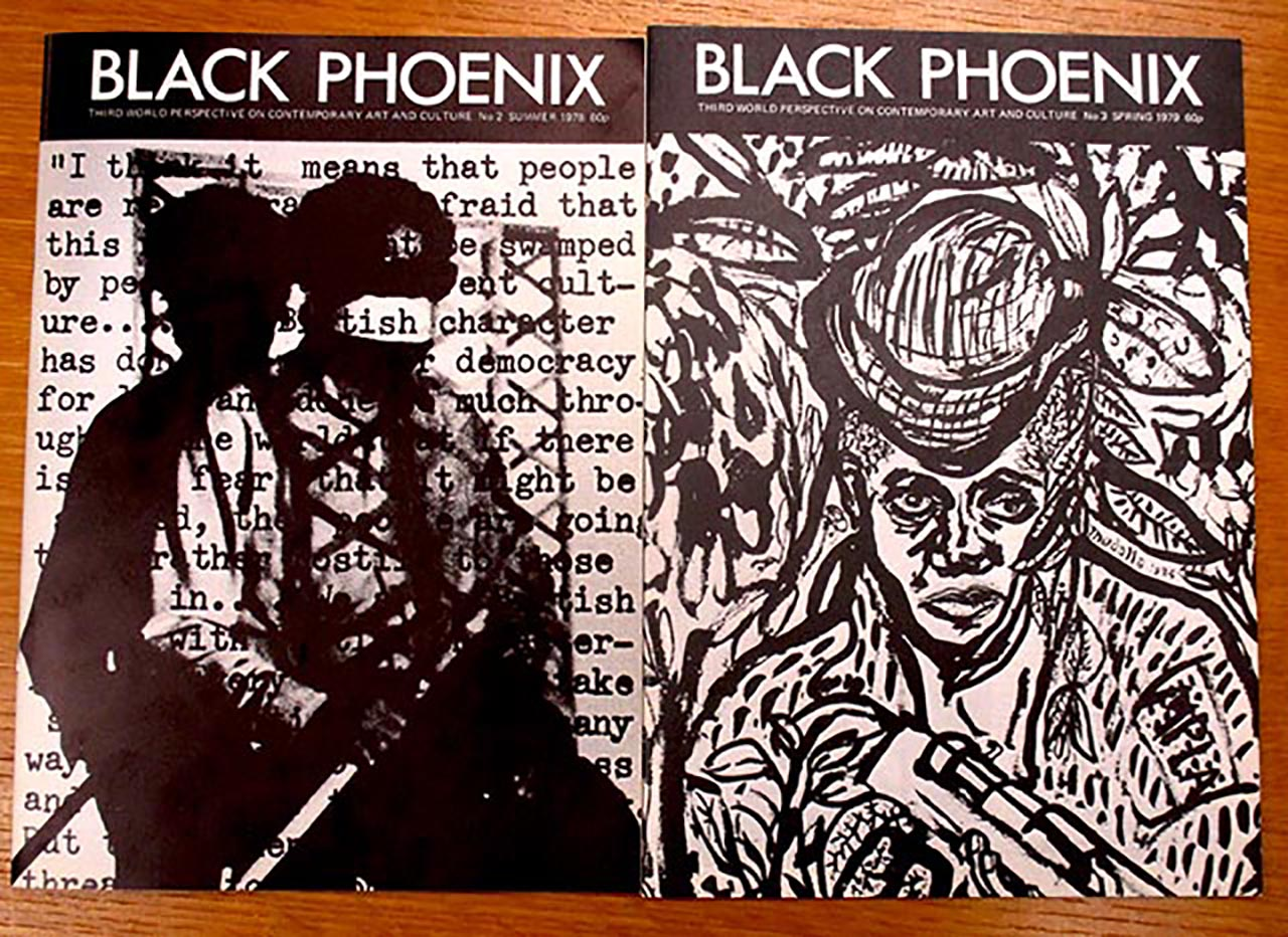 """'Black Phoenix' covers (1978–79). The issue on the left shows Rasheed Araeen performing """"Paki Bastard"""" (1977). (photo by the author for Hyperallergic)"""