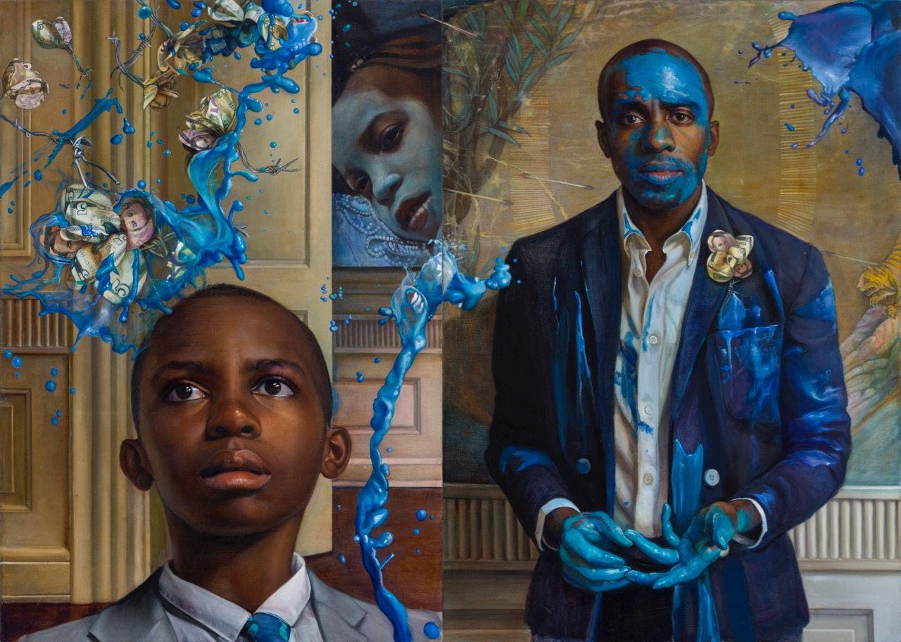 Tangled up in Blue (2015) diptych.