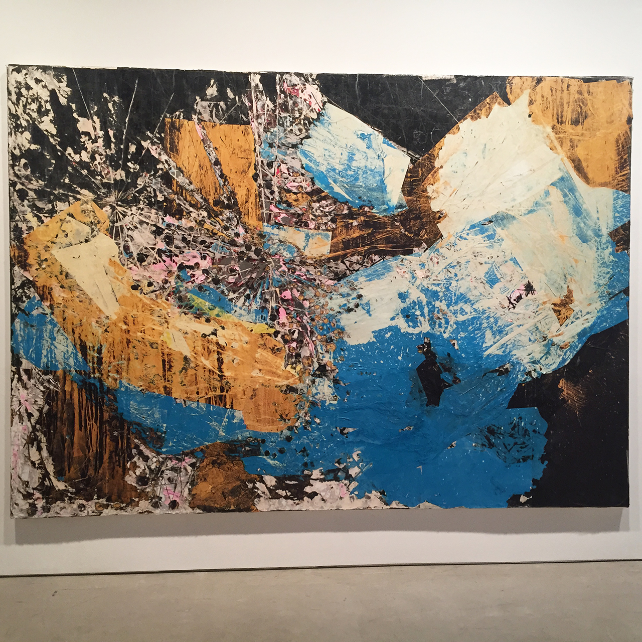 """Mark Bradford, """"Let's Walk to the Middle of the Ocean"""" (2015), mixed media on canvas, 259.1 x 365.8 cm / 102 x 144 in (all photos by the author for Hyperallergic)"""