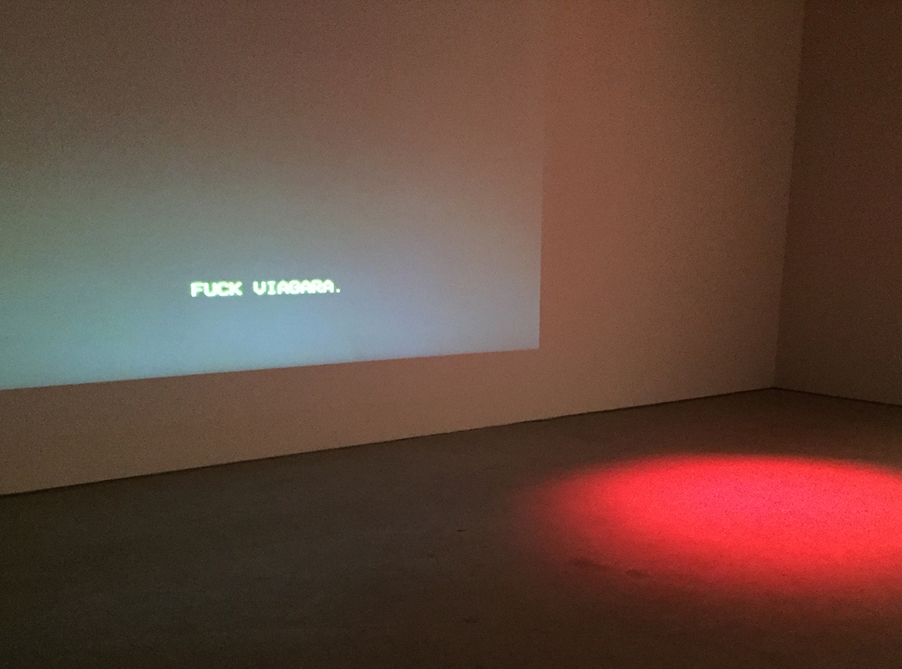 "Mark Bradford, ""Spiderman"" (2015), digital video with audio, 6'03"", installation view at Hauser & Wirth"