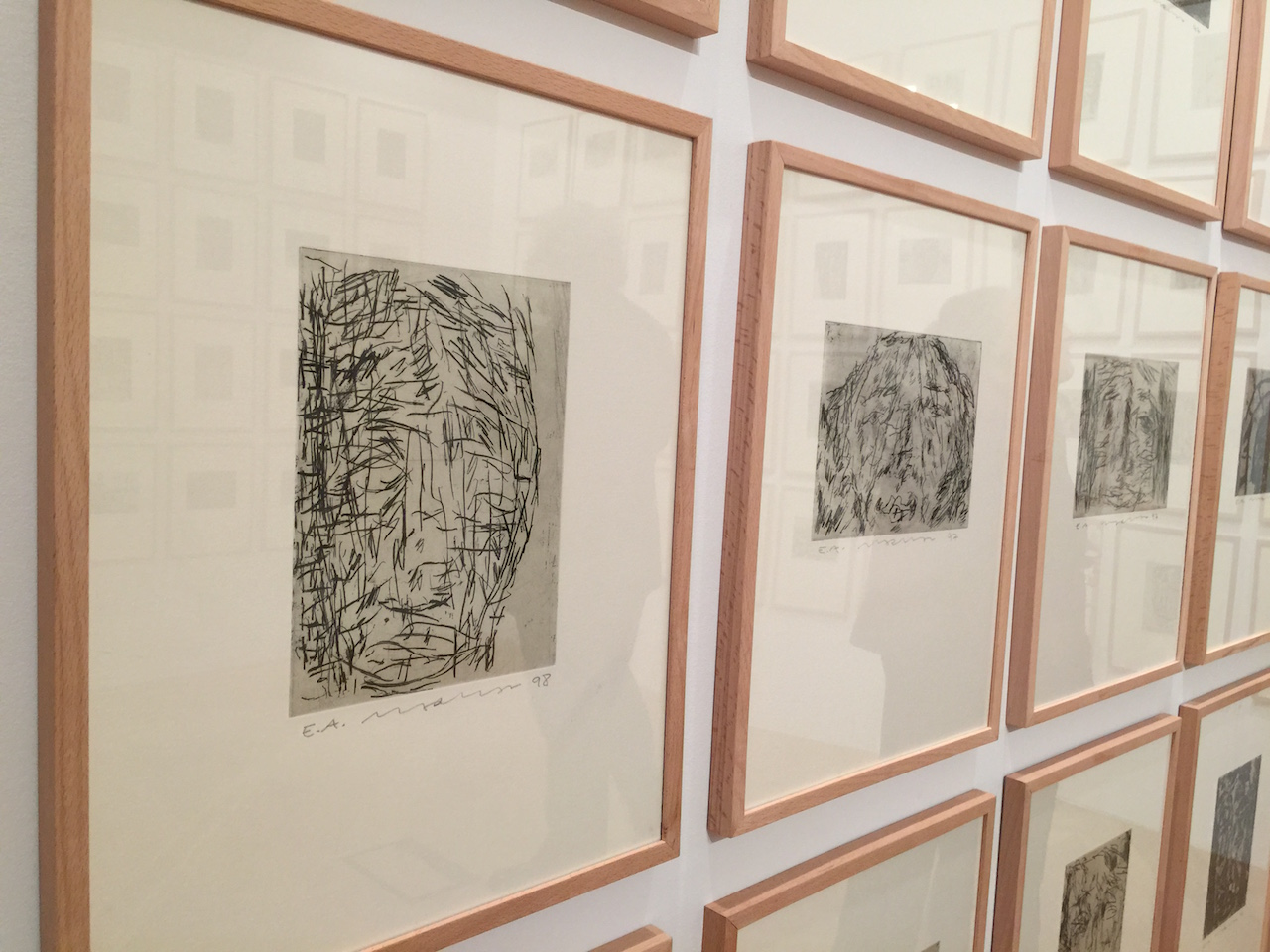 Close up of '99 Names of God' a group of etchings