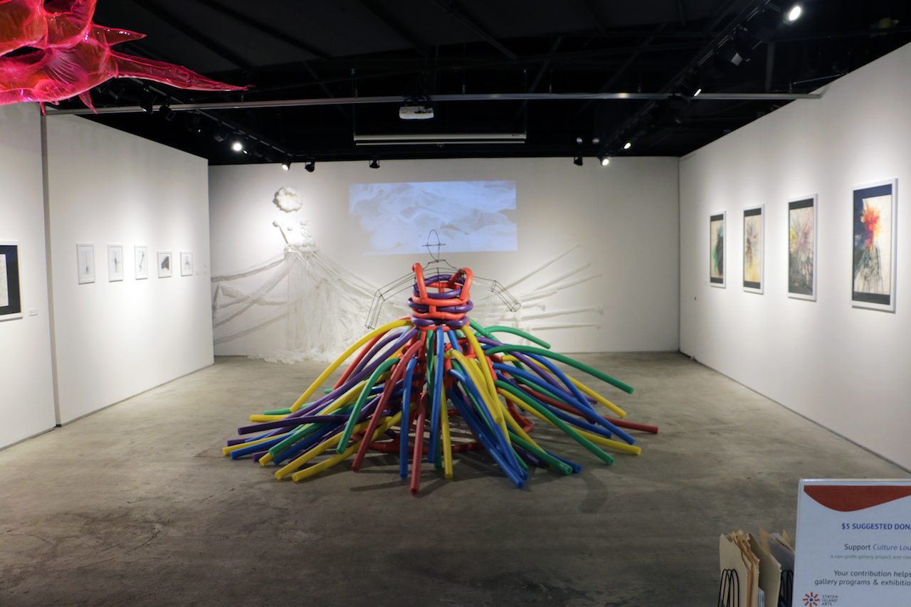 Installation view of DB Lampman's 'Flotation Devices' at the Staten Island Culture Lounge (all images courtesy of Staten Island Arts)