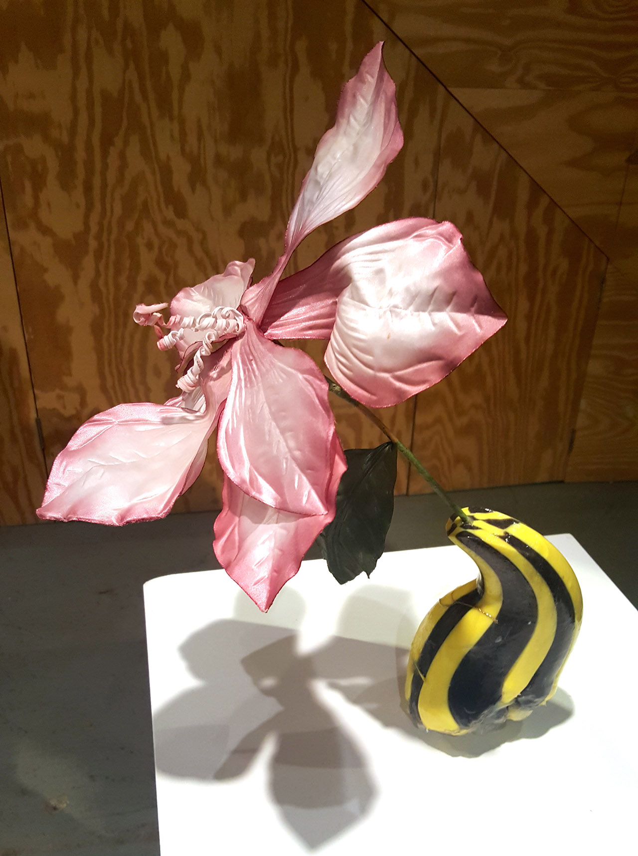 """""""Yellow Vase"""" (2015), lacquered candy, hot glue, bow, fake flower (click to enlarge)"""