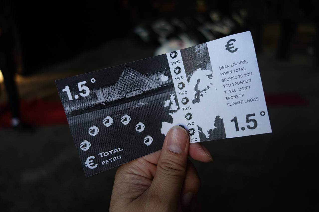 Tickets scattered by the protesters