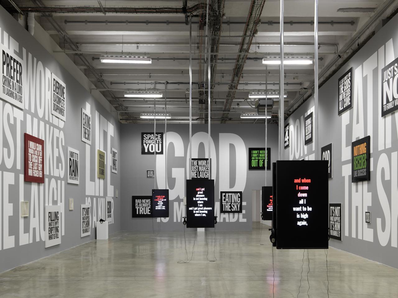 Installation view of 'UGO RONDINONE : I ♥ JOHN GIORNO' at the Palais de Tokyo (photo by André Morin, courtesy the Palais de Tokyo)
