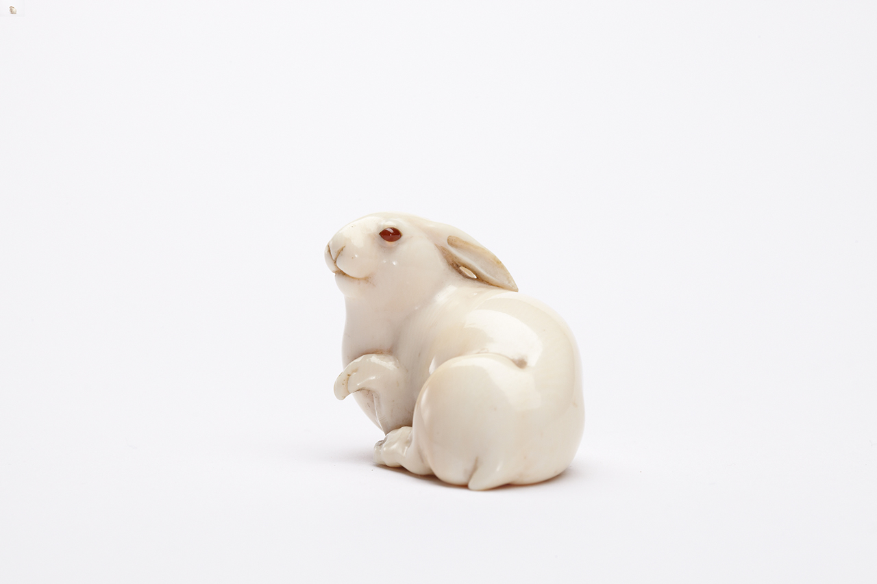 """""""The Hare with Amber Eyes,"""" one of the netsuke inherited by de Waal (click to enlarge)"""