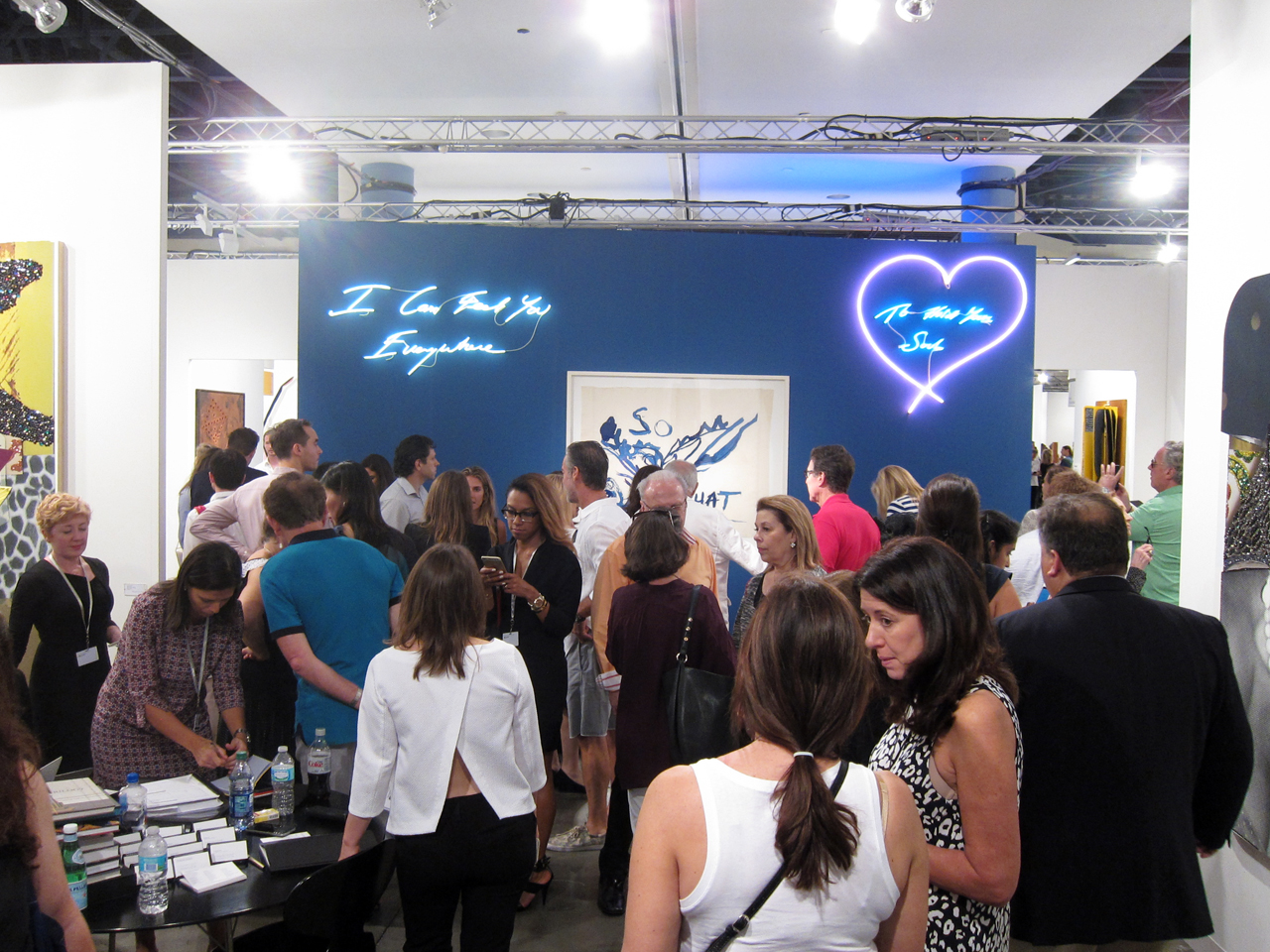 Lehmann Maupin's booth was literally lit by Tracey Emin's work, but it was also lit (all photos by the author for Hyperallergic unless otherwise noted)
