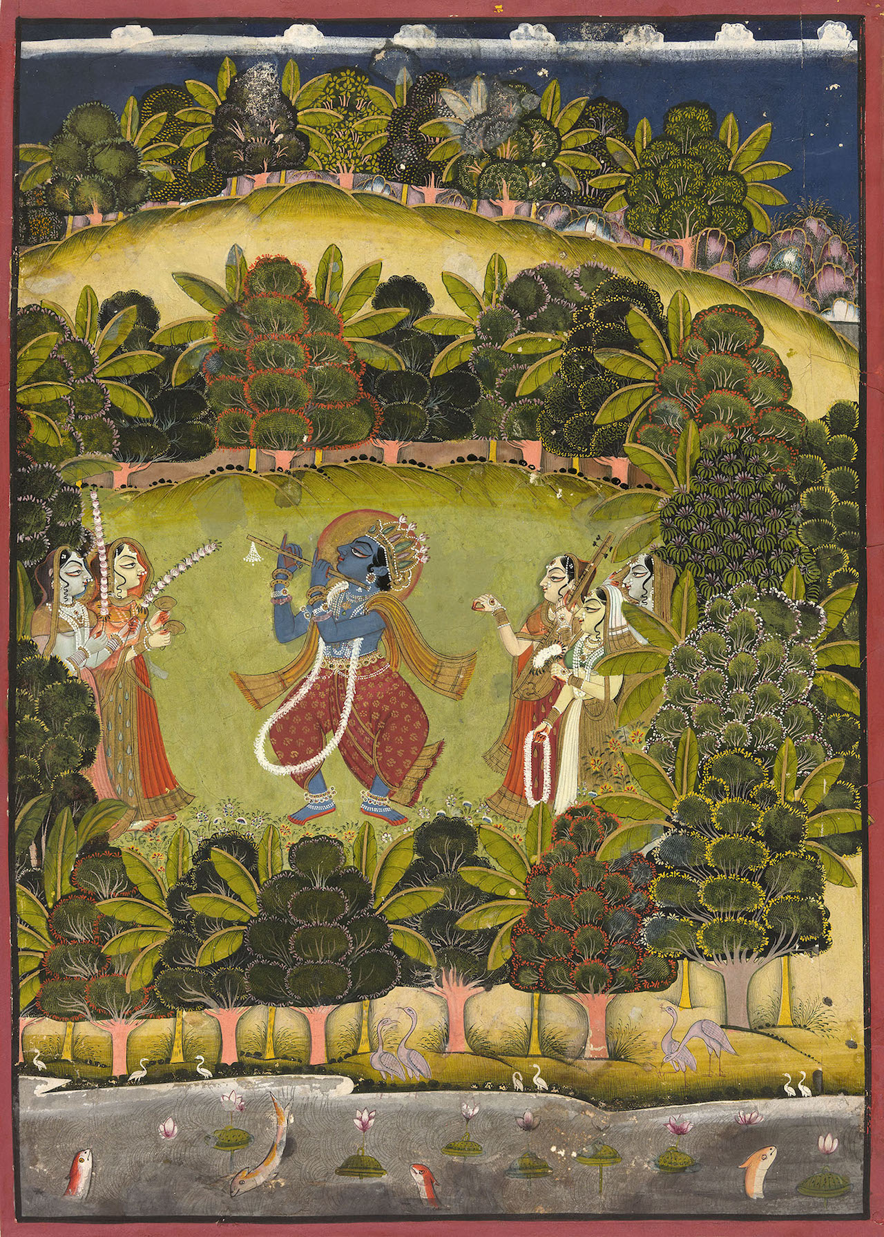 """""""Krishna Fluting for the Gopis"""" (late 18th or early 19th century), Jodhpur, Rajasthan, India (The Art Institute of Chicago, gift of Marilynn Alsdorf) (click to enlarge)"""