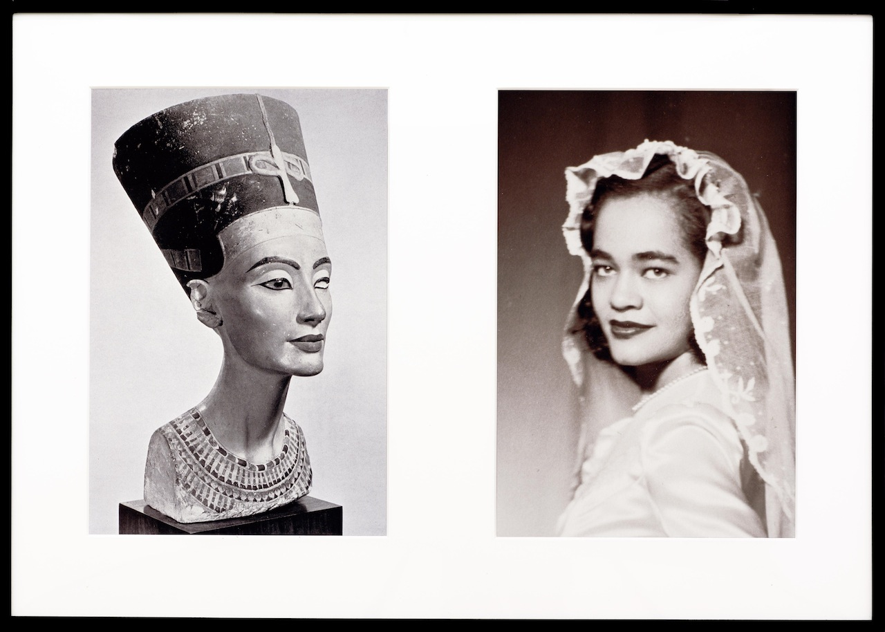 "Lorraine O'Grady, ""Miscegenated Family Album (Sisters I), L: Nefernefruaten Nefertiti; R: Devonia Evangeline O'Grady"" (1980/1994), Cibachrome prints, 26h x 37 in (image courtesy Alexander Gray Associates, New York)"