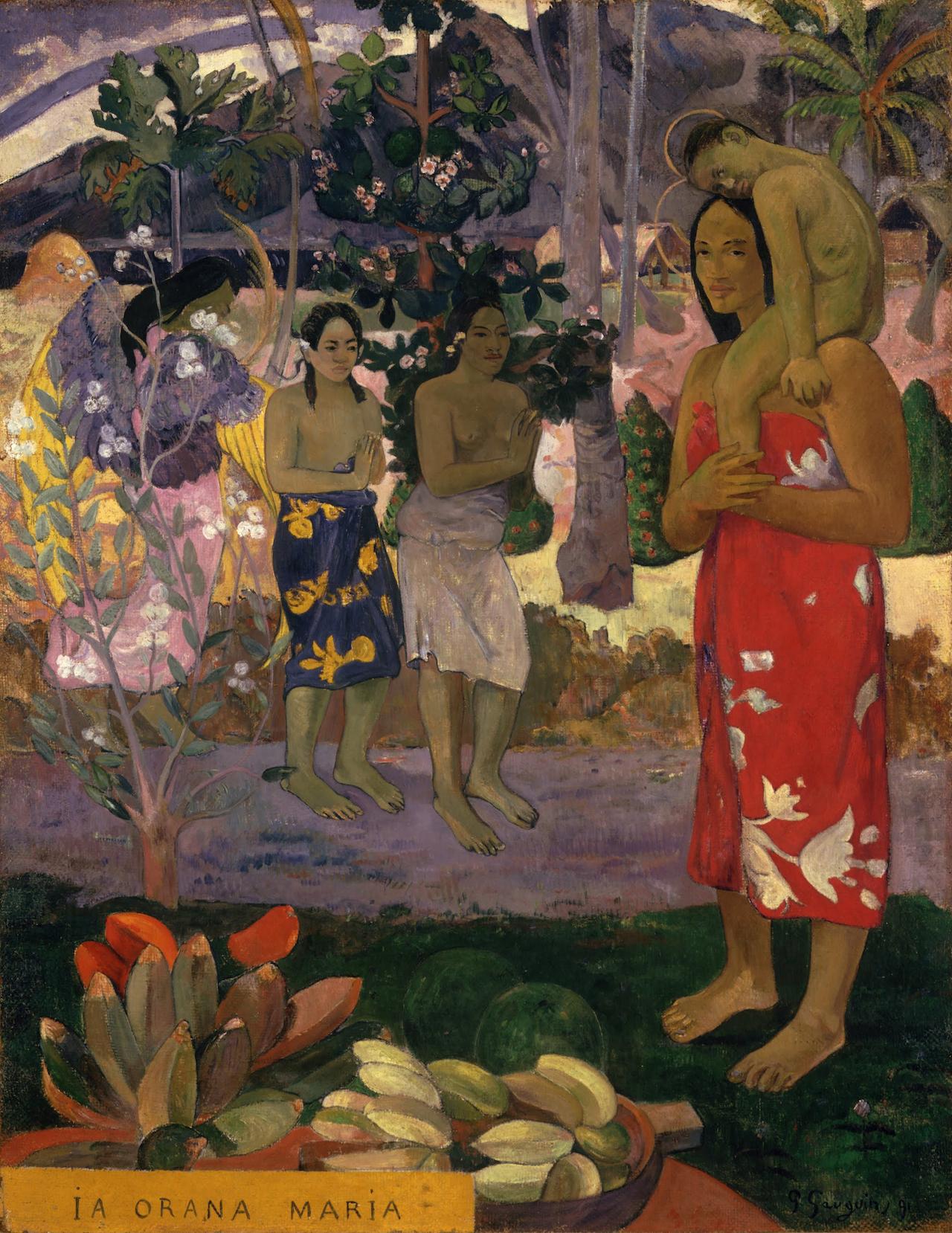 "Paul Gaugin, ""la Orana Maria (Hail Mary)"" (1891) (image via Wikipedia)"