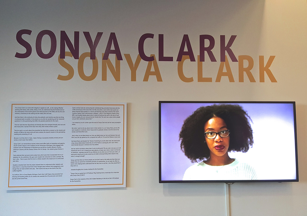 Installation view, 'Sonya Clark' at the Institute for the Humanities, University of Michigan (all photos by the author for Hyperallergic)