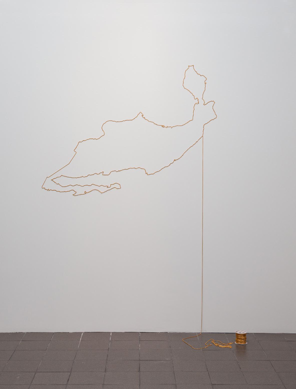 "Eduardo Abaroa's map of Mexico, ""bisuteria, varios km"" (1991) (photo by Joseph Hu, courtesy Moore)"