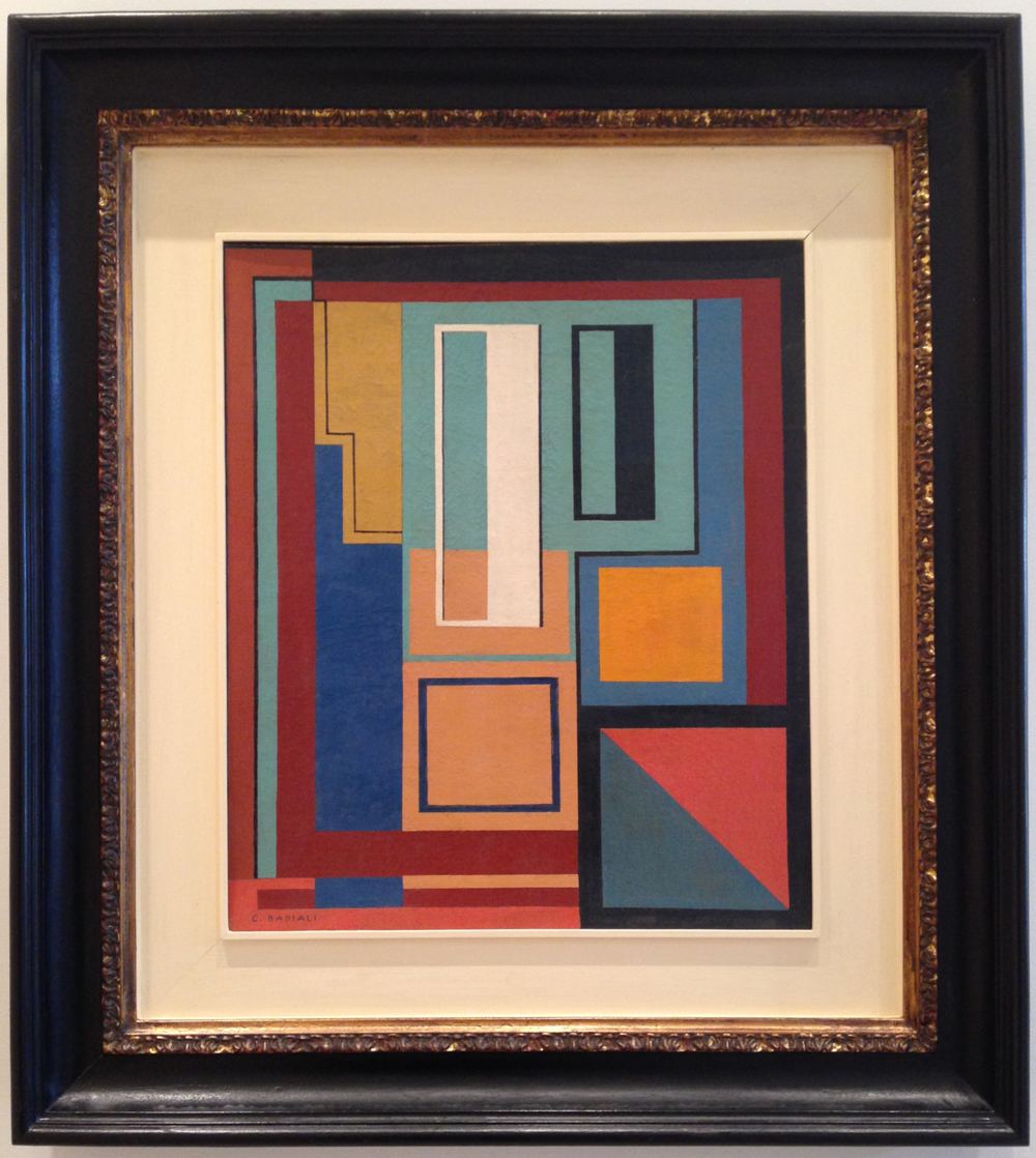 """Carla Badiali, """"Composizione (Composition)"""" (1937/1942), oil on canvas, 23 x 19 inches. (all photos by the author for Hyperallergic)"""