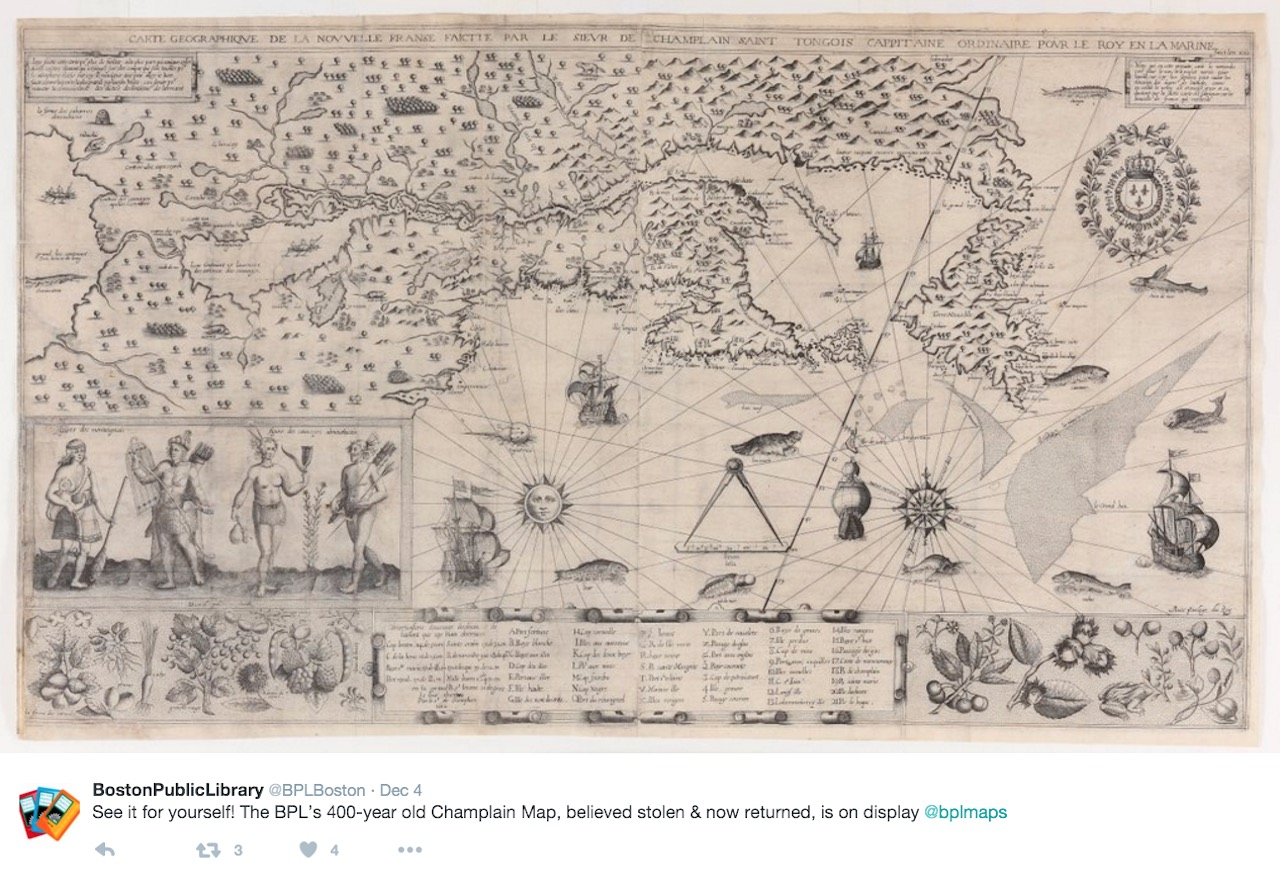"""The Boston Public Library's recently returned """"Geographic Map of New France"""" (1612) (screenshot by the author via @BPLBoston/Twitter)"""