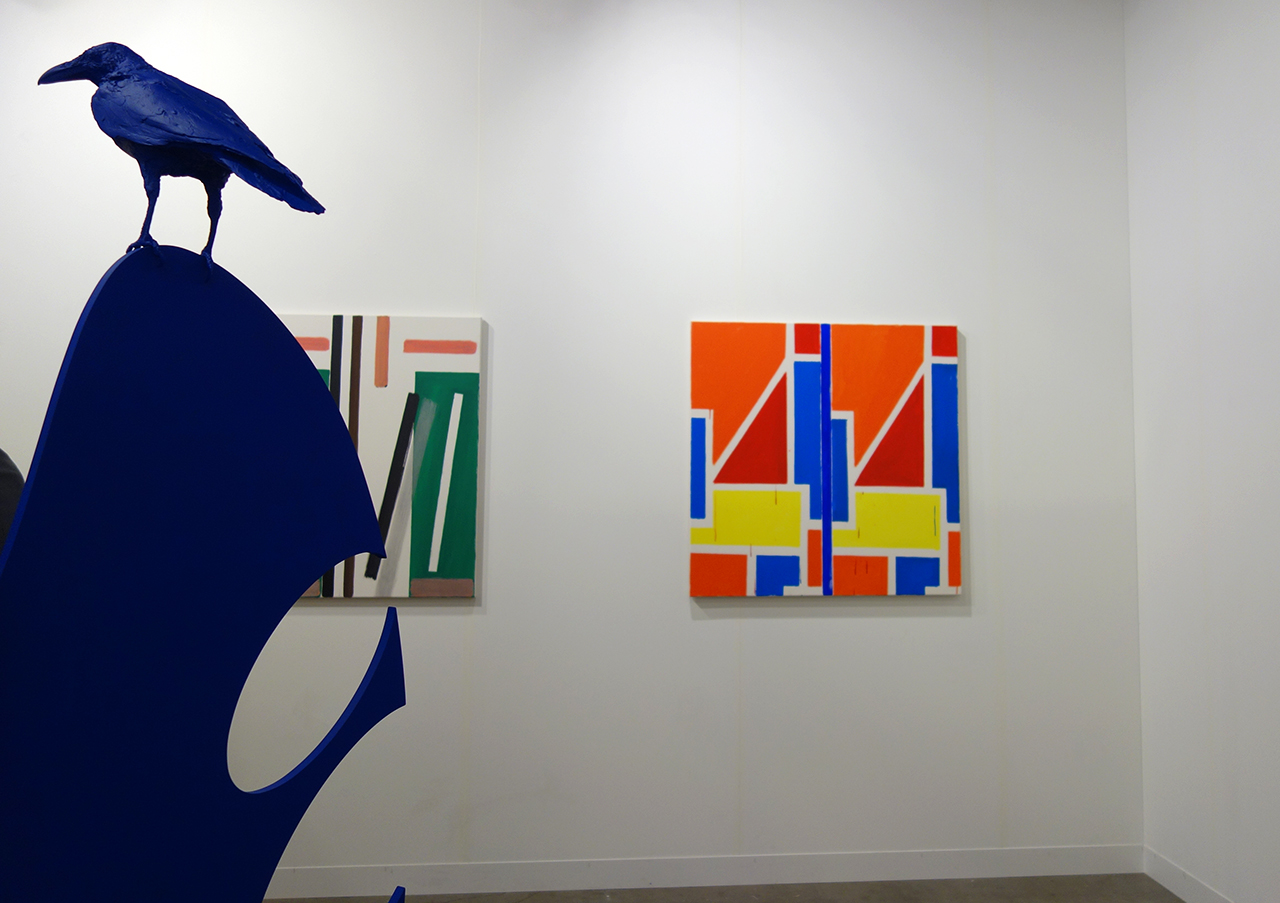 Installation view of art sculpture by Nathan Mabry and painting by Bernard Piffaretti with Cherry and Martin