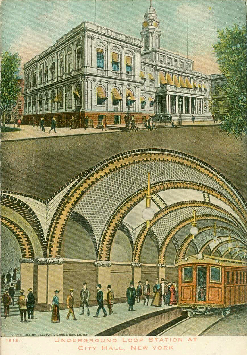 """Postcard of the """"underground loop at City Hall, New York"""" (early 1900s) (via Wikimedia)"""